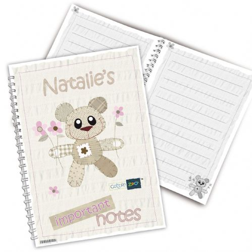 Personalised Cotton Zoo Tweed the Bear Pink Notebook